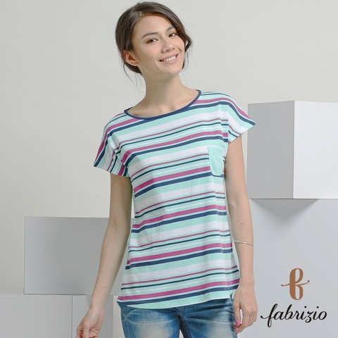 Hot Sale	factory Standard leisure Crystal knitted round neck stripes MIT Women's T-shirts