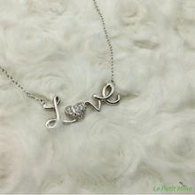 925 Silver Clavicle Necklace Cursive Love Bling Heart shaped Pendant Platinum-Clad - Exquisite Gift Box