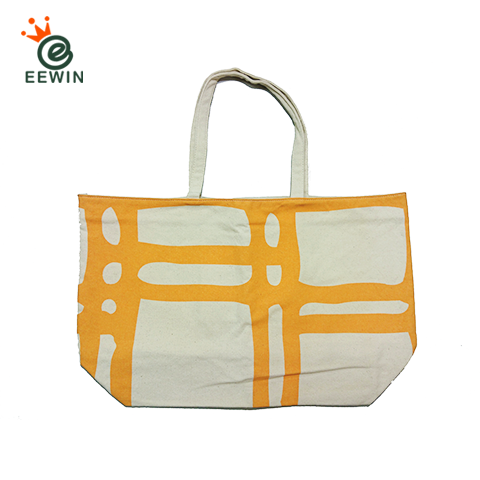 Taiwan White Canvas Tote Bag With Inside Pocket Custom Pattern