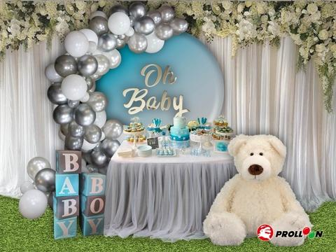 Baby shower - Silver balloon garland