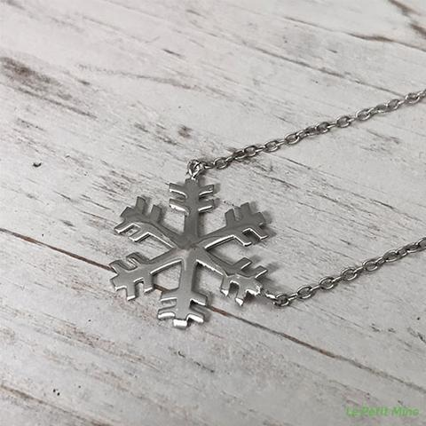 Silver Necklace Snowflake Platinum-Clad