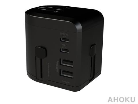 4 Ports 45W PD & QC Charger with US/UK/EU/AU Travel Adapter
