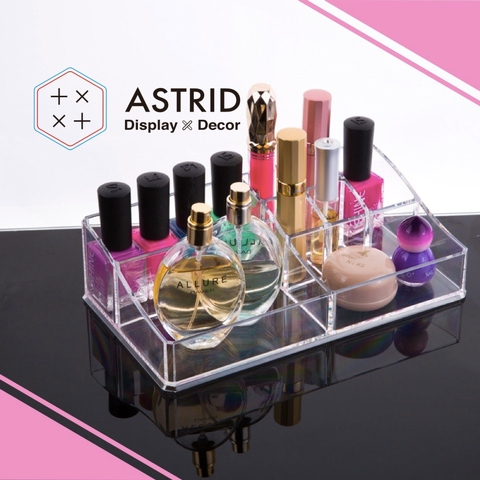 acrylic 8 partitions small lipstick and cosmetics holder