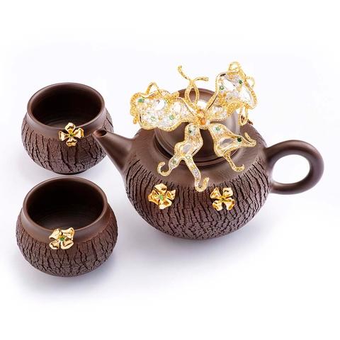 Yellow Sapphire Diamond Butterfly Art Jewelry Teapot