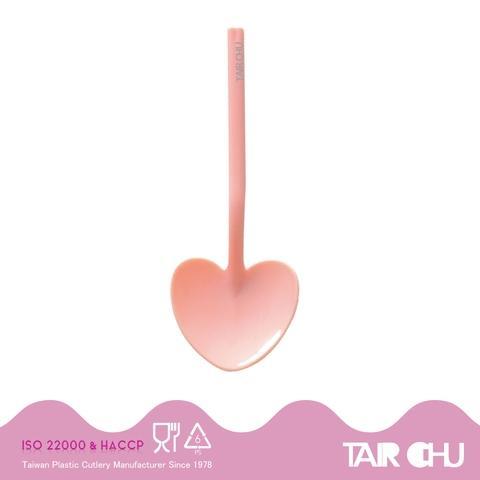 9cm PS Peach Color Disposable Plastic Heart Shaped Dessert Spoon