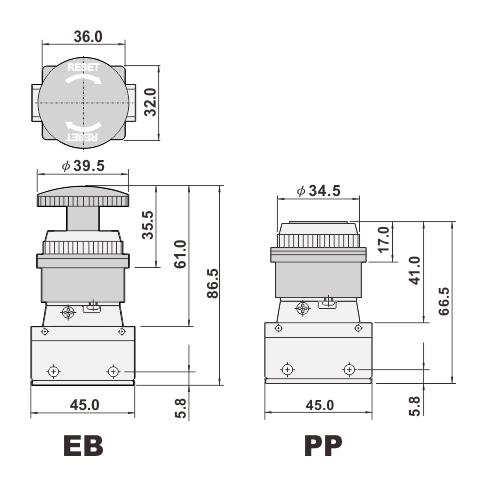 3/2 way mechanical valve, manual valve