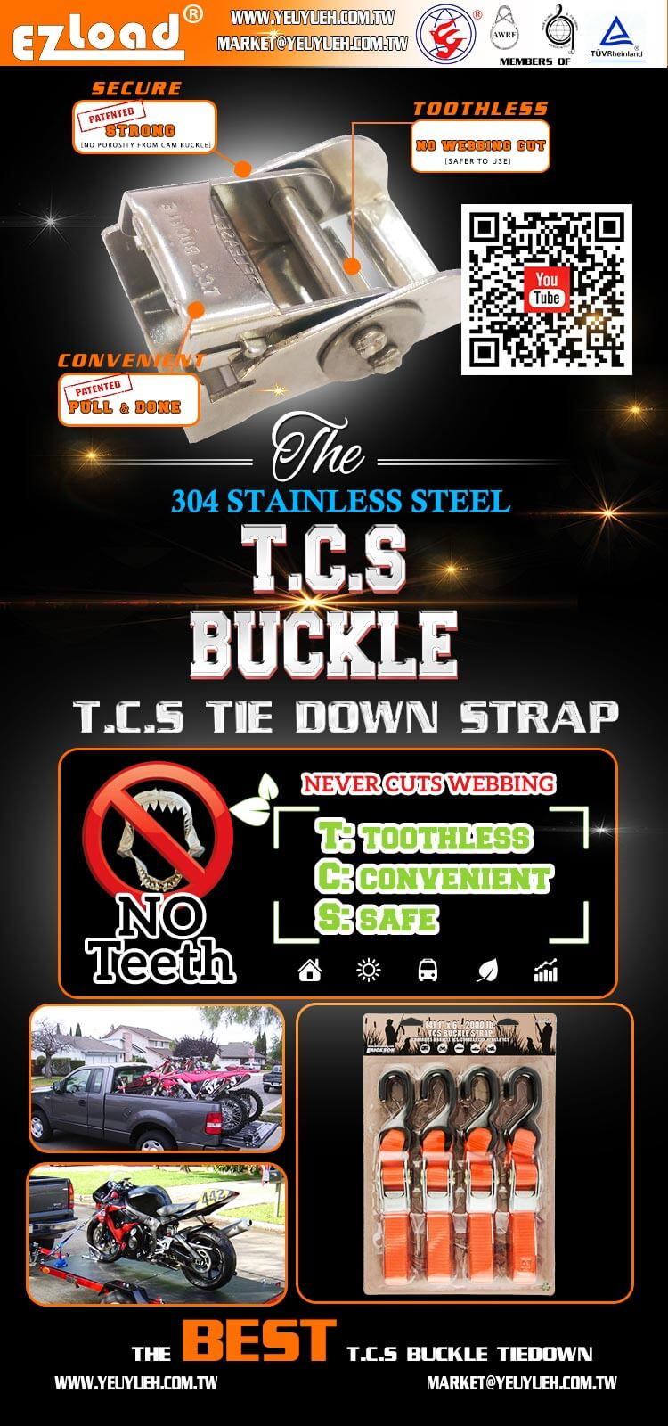 [EZ LOAD] TCS Toothless Stainless Steel 25mm Cam Tie Down Strap
