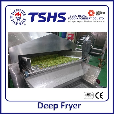 Industrial Continuous Stainless Steel Pellets Gas Fryer Machine