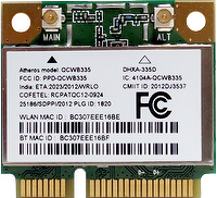 802.11 b/g/n wifi and Bluetooth combo PCIe: DHXA-335D