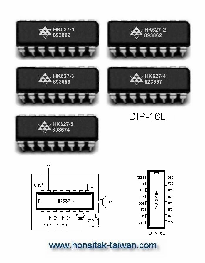Taiwan Sound Effect IC HK637, DIP-16L | HONSITAK ELECTRONICS