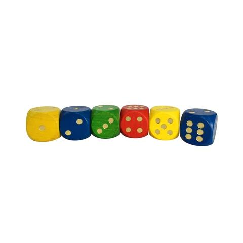 Colorful Wooden Dice-Gold Dot
