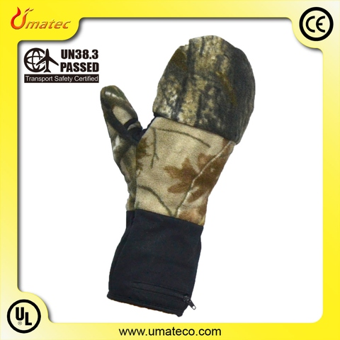 7.4V heated fingerless Mittens with double heaters, hunting gloves_3