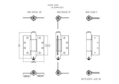 "Waterson Soft-Closing Hinge -4.5""x4.5"" Aluminum"