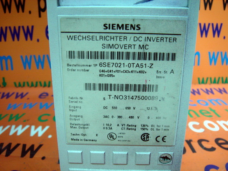 Taiwan SIEMENS 6SE7 021-0TA51-Z 6SE7021-0TA51-Z