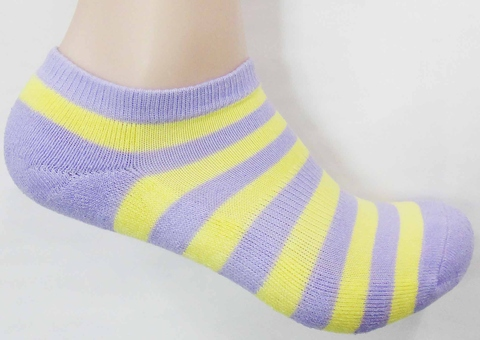 WOMEN`S STRIPED TERRY ANKLE SOCKS