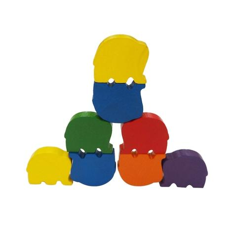 6 Colors Wooden Elephant  Family