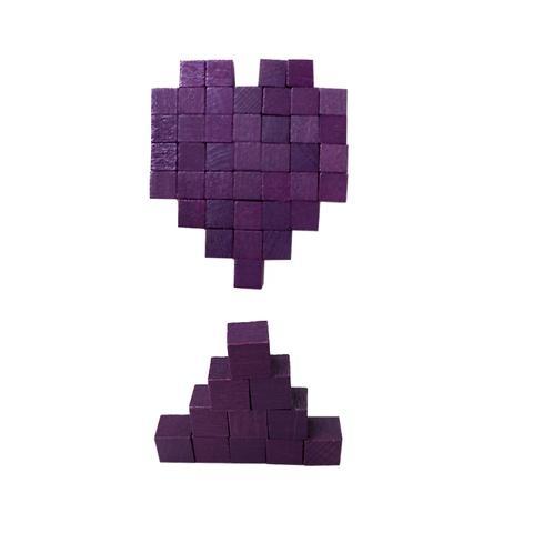 1cm Purple Wood Cube