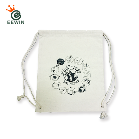 915403f72a72 Taiwan White Canvas Drawstring Backpack One Color Print Customized ...