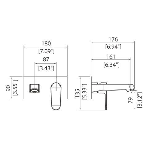 Vantage - Wall-mounted single-lever basin mixer