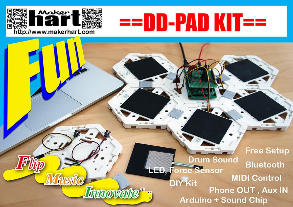 Taiwan DD-PAD DIY Electronic Drum Set with Arduino GM Sound