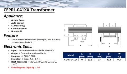 Taiwan terminal de alimentação Transformer-- Pin EI-41 Tipo
