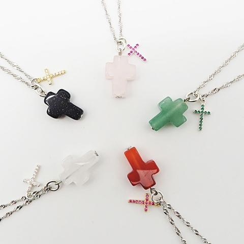 雙十字架項鍊-純銀鍊45cm 純銀微鑲鑽鋯石x天然水晶墜飾 5款可選