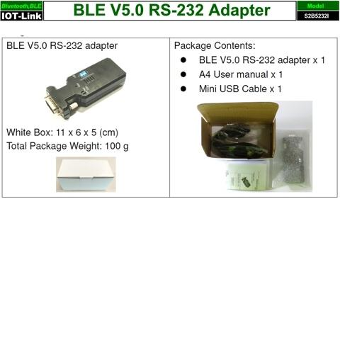 RS232 Bluetooth BLE V5.0 adapter package content