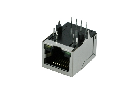 Telephone Modular PCB Jack.  Single RJ45, 8P8C, Side Entry, w/ Transformer 10/100Mbps, w/LED(GN&YW)