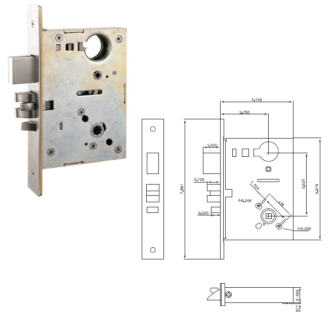 Ansi Commercial Mortise Door Lock Body Entrance Function