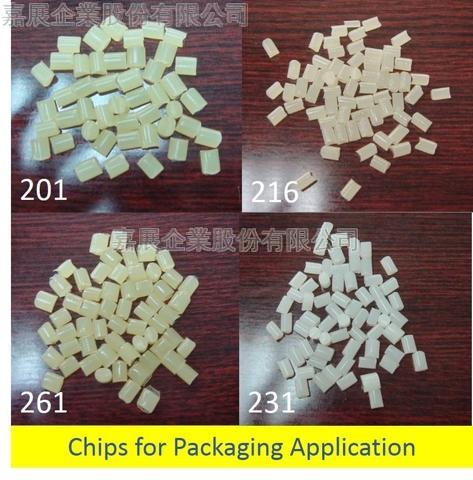 Hot melt glue chips for packaging
