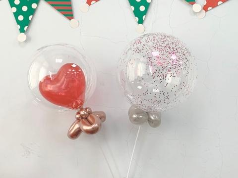 10 inches Clear bubble balloon with mini heart and confetti