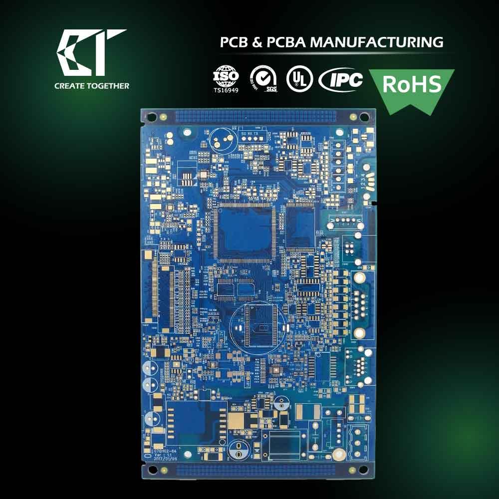 Taiwan Pcb Manufacturer Ru 94v0 Prototype Cem 1 Circuit Board 6 Layer Blue Solder Mask Printed