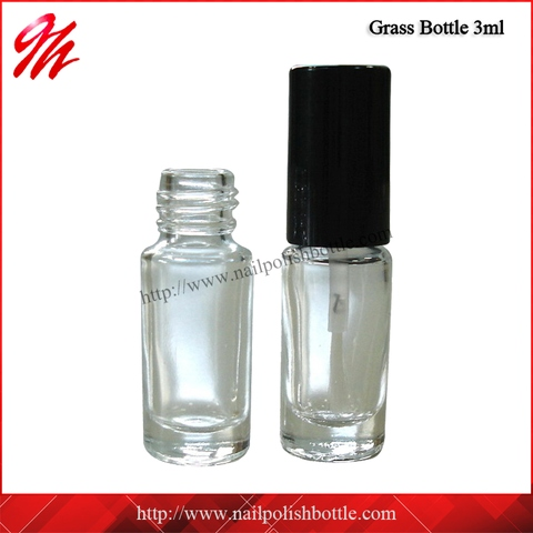 3ml Cylindrical Clear Glass Bottle With Brush/ One box (1125 sets)