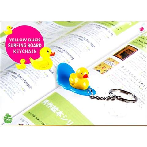 YELLOW DUCK CHARACTER SURFING BOARD KEY CHAIN RANDOM COLOR 1