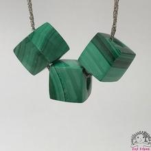 925 Silver Malachite -8.5mm Cube Beads Pendant Necklace Ladies Accessories-Gift Box