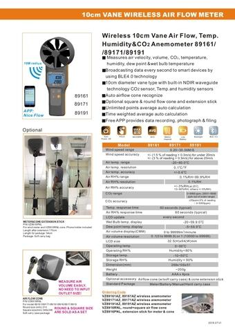 Bluetooth Anemometer Thermometer., RH%, CO2 meter