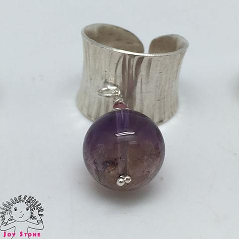 [925 Silver Ametrine] Wood Grain Ring Adjustable