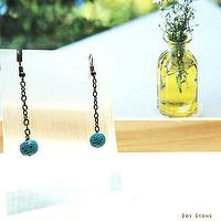 Diffuser Dangle Hook Piercing Earrings with Powder Blue Aroma Rock Lava Beads 1 Pair