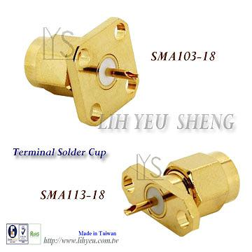 SMA Male Flange Mount Edge Board Terminal Solder Cup Connector