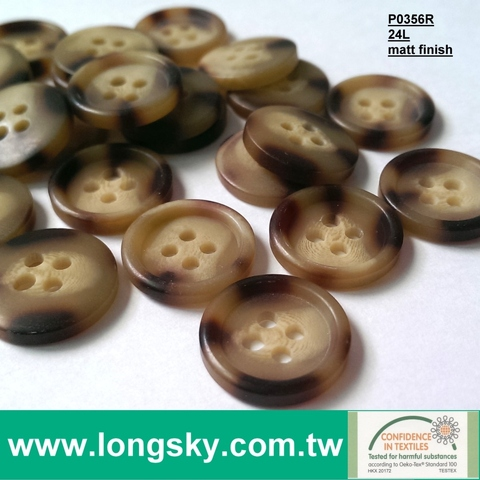 Polyester resin trouser and shirt buttons (#P0356/24L-4HD)