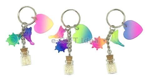Mini Sand Bottle Key Chain (with dolphin and shell)