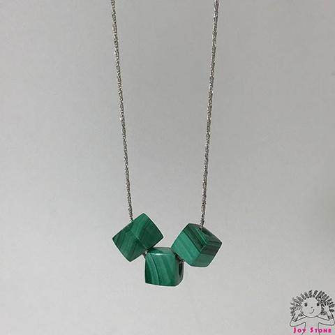 [925 Silver Malachite] 8.5mm Cube Beads Pendant Necklace 3