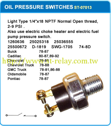 Taiwan OIL PRESSURE SWITCHES , Other Switches , Electrical