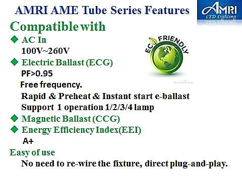 Taiwan T8(G13) Compatible with AC in