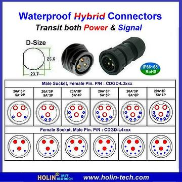 Taiwan Waterproof Hybrid Connector With Power And Signal