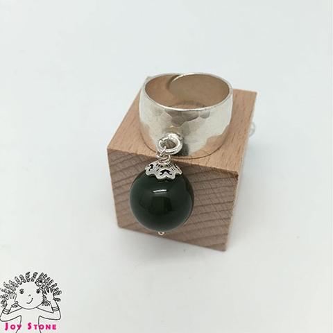 Silver Nephrite Diamond shaped Markings Ring