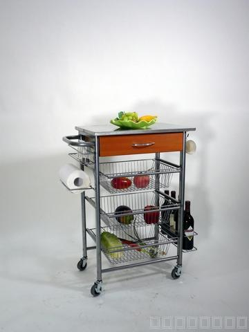 Taiwan 4 Tier Glass Serving Cart With Wine Rack And Napkin Roll