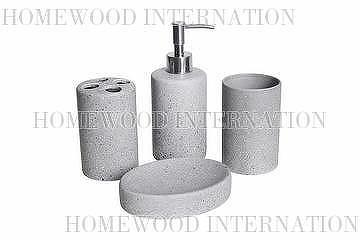 Bath Accessories / Ceramic Bathroom Set / Imitation Stone Effect / Soap  Dispenser, Tumbler, Toothbrush Holder, Soap Dish / Grey