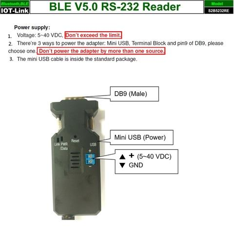 Bluetooth BLE V5.0 Beacon RS232 Reader power input