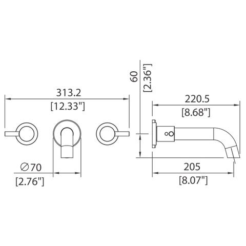 Rotunda - Wall-mounted basin mixer